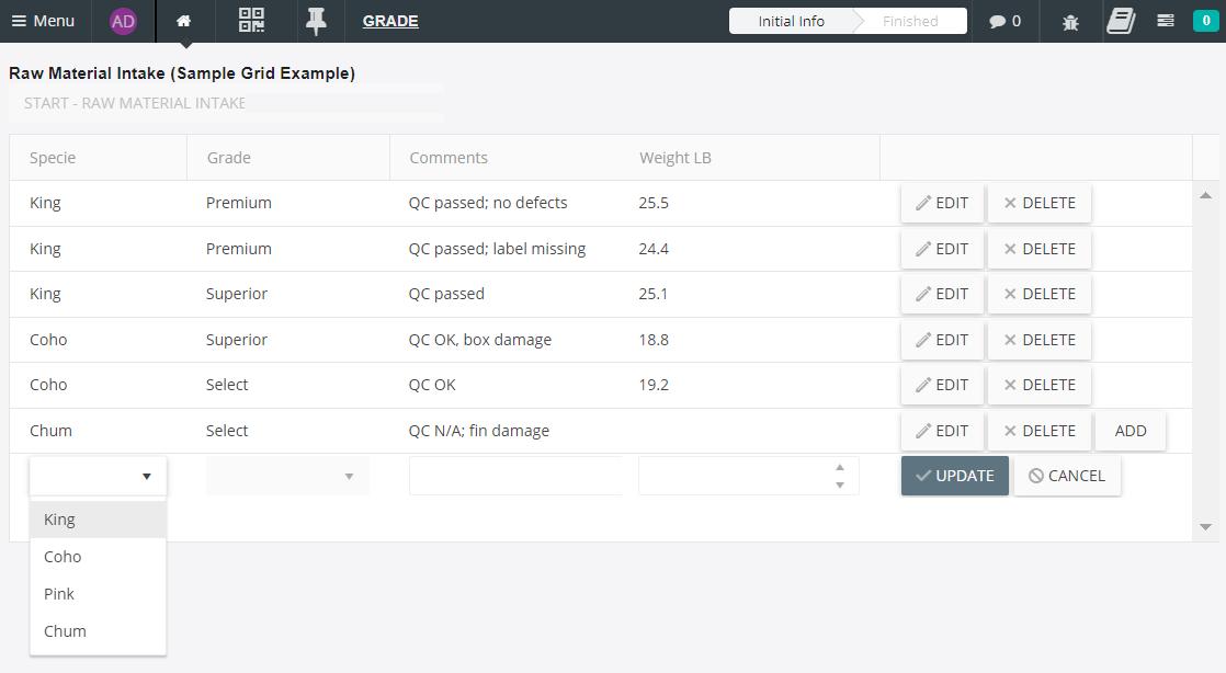 Inspec QA-QC Quality Intelligence Sample Grid Example